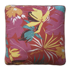 """Cushion 17"""" x 17"""" Pink Graphic Floral Print"""
