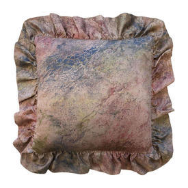 """Cushion 15"""" x 15"""" Pink Marble Print / Frilled"""