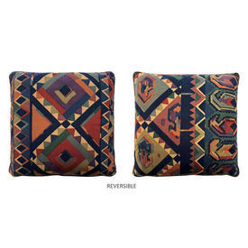 "Cushion 15"" x 15"" Navy Collier Campbell Kasbah Aztec Geo Stripe"