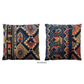"Cushion 16"" x 16"" Navy Collier Campbell Kasbah Aztec Geo Stripe"