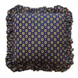 "Cushion 18"" x 18"" Navy Provencal Print / Frilled"