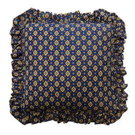 "Cushion 20"" x 20"" Navy Provencal Print / Frilled"