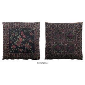 "Cushion 16"" x 16"" Black Floral 'Cross-Stitch' Print"