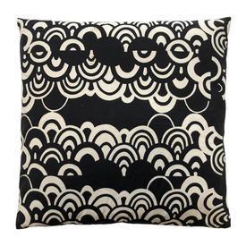 "Cushion 22"" x 22"" Black Arcs Print Cotton"