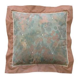 "Cushion 15"" x 15"" Sea Nuage Chintz / Oxford Edge"