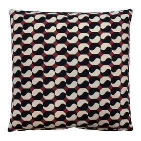 "Cushion 18"" x 18"" Black Mary Fox Linton Perpignan Geo Linen"