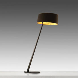 Bronze Sloped Floor Lamp with Lge Oval Brown/Gold Shade