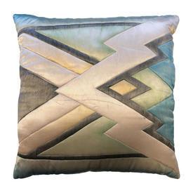 "Cushion 18"" x 18"" Mint / Cream Zig-Zag Watercolour Quilted Silk"