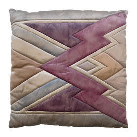 """Cushion 18"""" x 18"""" Pink Zig-Zag Watercolour Quilted Silk"""
