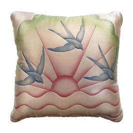 """Cushion 16"""" x 16"""" Pink Swallows Watercolour Quilted Silk"""