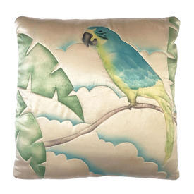 """Cushion 17"""" x 17"""" Turquoise / Cream Parrot Watercolour Quilted Silk"""