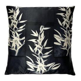 """Cushion 14"""" x 16"""" Black Leaf Print Silk"""