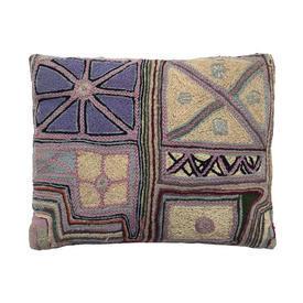 "Cushion 12"" x 14"" Lilac Geo Wool Hand Tapestry"