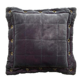 """Cushion 16"""" x 16"""" Charcoal Panne Velvet / Quilted / Eyelets"""