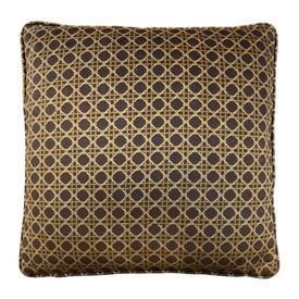 "Cushion 18"" x 18"" Brown Lattice Print Velvet"