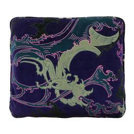 "Cushion 12"" x 14"" Purple Leaf Scroll Velvet"