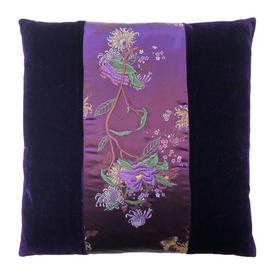 "Cushion 15"" x 15"" Purple Floral Brocade Panel / Velvet"