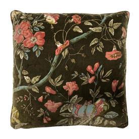 "Cushion 19"" x 19"" Khaki Floral Branches Print Velvet"