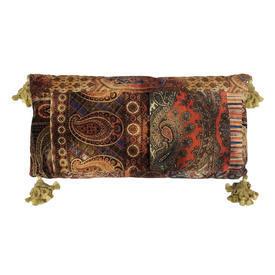 """Floor Cushion 18"""" x 36"""" Chestnut / Red Large Paisley Print Velvet / Tassels"""