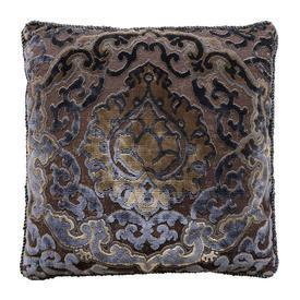 "Cushion 18"" x 18"" Navy / Charcoal Classical Cut Velvet / Corded"