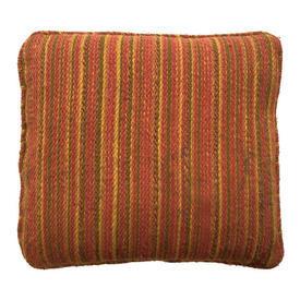 "Cushion 13"" x 14"" Bright Orange Stripe Wool Weave"