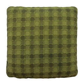 """Cushion 14"""" x 14"""" Lime Check Woolly Weave"""