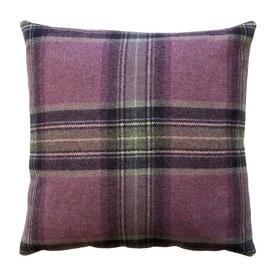 "Cushion 16"" x 16"" Pink Moon Glen Derry Tartan Wool"