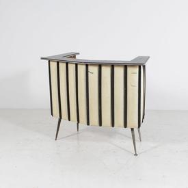 50'S Cream Pattern Padded Vinyl & Formica Bar