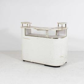 50'S Curved Front Marble Top Cream Vinyl Cocktail Bar