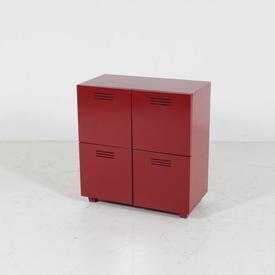 Red Vented Chest Of 4 Door Storage Unit