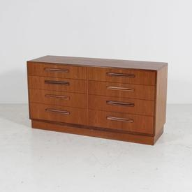 Teak Low Wide G Plan 8 Drawer Chest Of Drawers