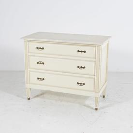 85Cm Cream with White Trim 3 Draw Ornate Low Chest Of Draws