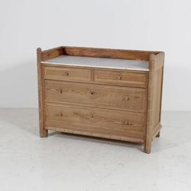 4 Draw Bamboo Style  Pine W/ Marble Top Chest Of Drawers