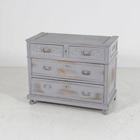 Distressed Grey 4 Draw with Key Holes Chest Of Drawers