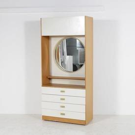 White & Teak 4 Drawer Vanity Unit