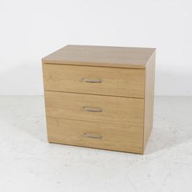 Oak 3 Drawer Curved Satin Ali Handles Chest Of Drawers