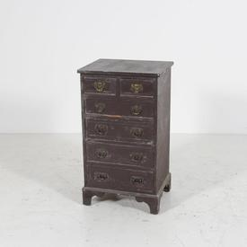 Distressed Brown 6 Drawer Ornate Metal Handle Mini Chest Of Drawers