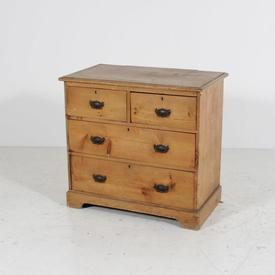 4 Draw Faded Pine Chest with Black Knocker Handles Key Hole
