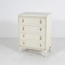 Off White 4 Drawer Gold Trimwith Gold Handle Chest Of Drawer
