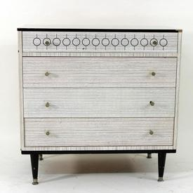 Berry'S Black & White Formica 4 Drawer Chest