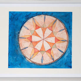 Blue & Coloured Stained Glass Window Motif in White Frame (113Cm X 84Cm)