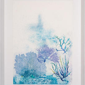 Blue & Purple Reef Watercolour 2  Picure in White Frame (70Cm X 90Cm)