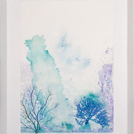 Blue & Purple Reef Watercolour 1 Picure in White Frame (70Cm X 90Cm)