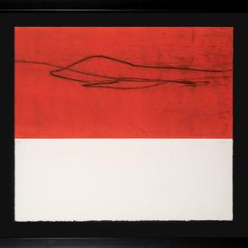 Black Framed Red, Cream  & Black 'Sangre V' (Ii) Print (80Cm X 72Cm)