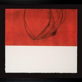 Black Framed Red, Cream  & Black 'Sangre V' (1) Print (80Cm X 72Cm)