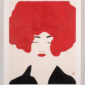 Black Framed Eyes Shut Red Hair Lady Print (90Cm X 70Cm)