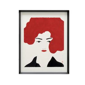 Black Framed Eyes Open Red Hair Lady Print (90Cm X 70Cm)