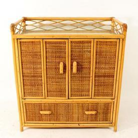 Bamboo Galleried Folding Door 1 Drawer Gallery Top Dressing Unit