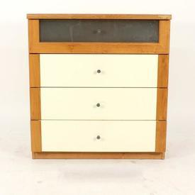 Oak & White 4 Drawer Chest 1 Drawer Frosted