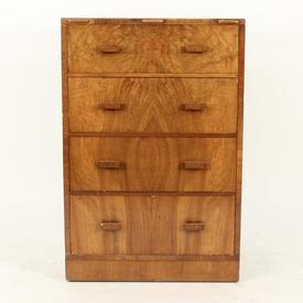4 Drawer Lacq Walnut Chest Of Drawers/Dresser with Flip Up Mirror